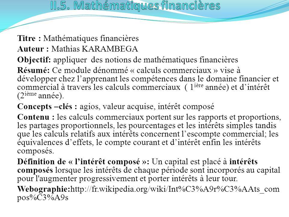 II.5. Mathématiques financières