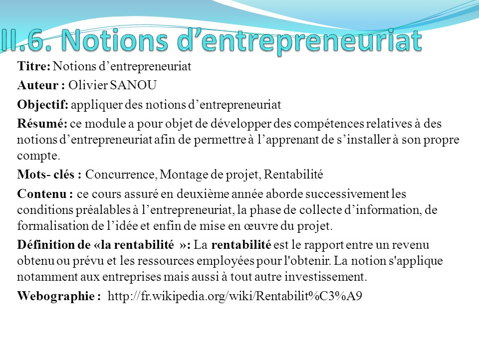 II.6. Notions d'entrepreneuriat