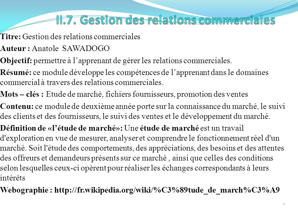 II.7. Gestion des relations commerciales