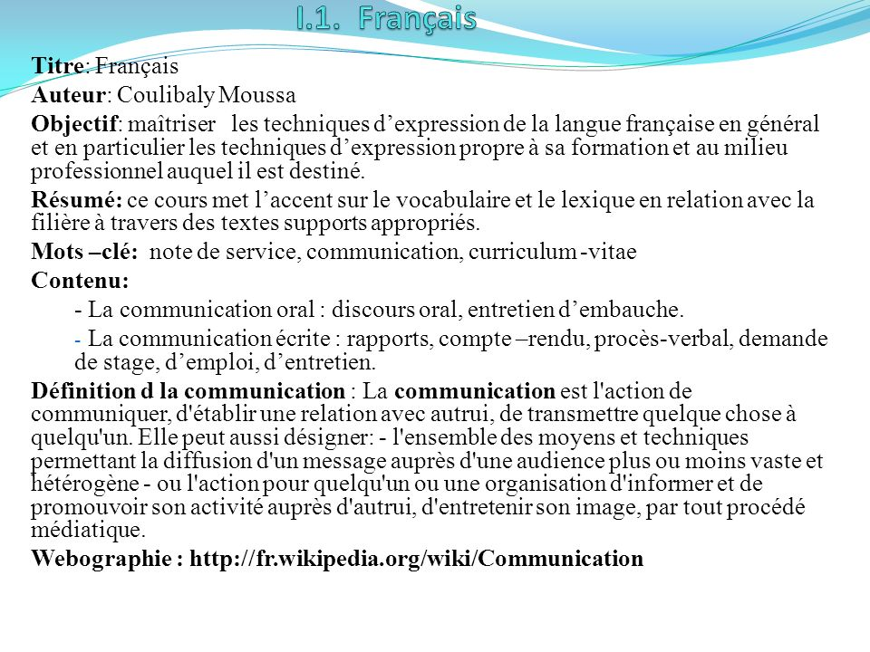 I.1. Français Titre: Français Auteur: Coulibaly Moussa