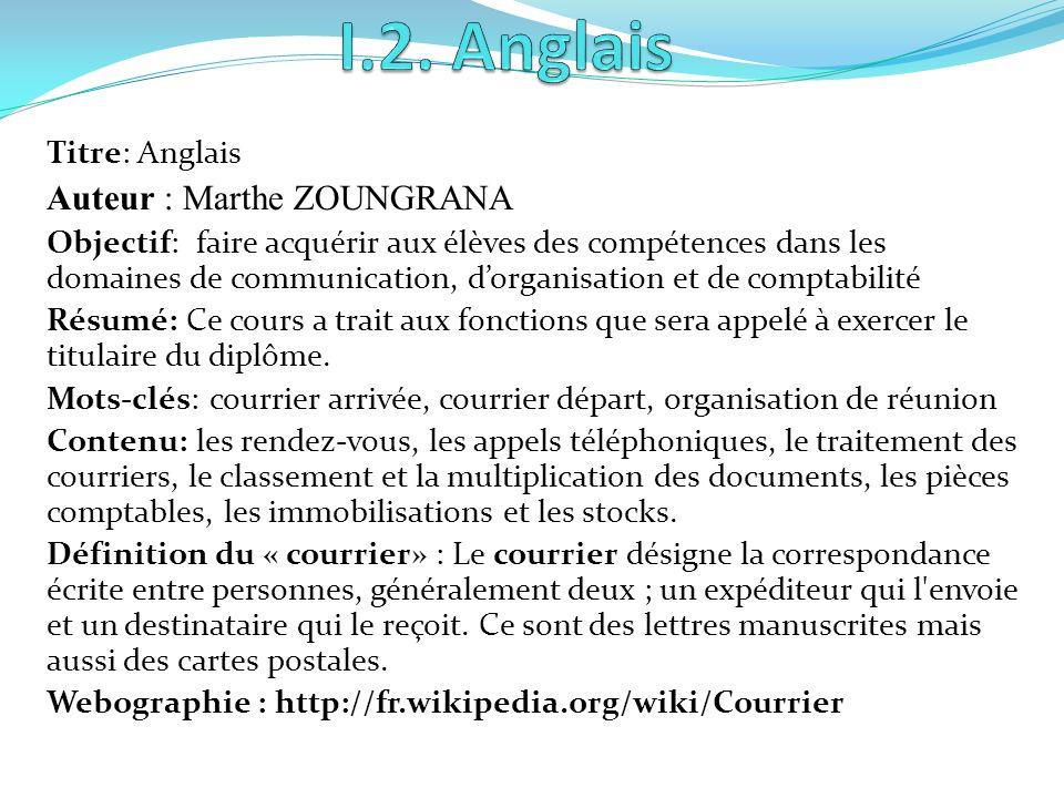 I.2. Anglais Auteur : Marthe ZOUNGRANA Titre: Anglais
