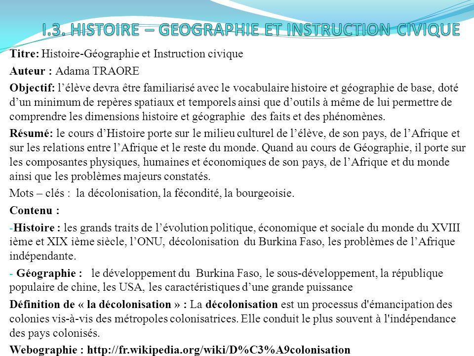 I.3. HISTOIRE – GEOGRAPHIE ET INSTRUCTION CIVIQUE