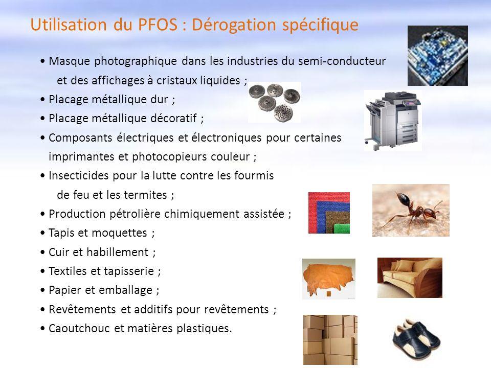 Utilisation du PFOS : Dérogation spécifique