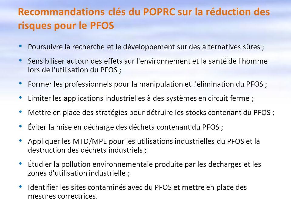 Recommandations clés du POPRC sur la réduction des risques pour le PFOS
