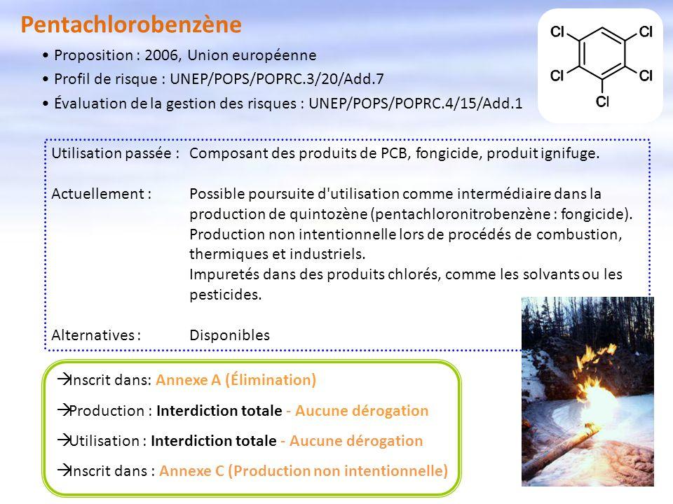Pentachlorobenzène Proposition : 2006, Union européenne