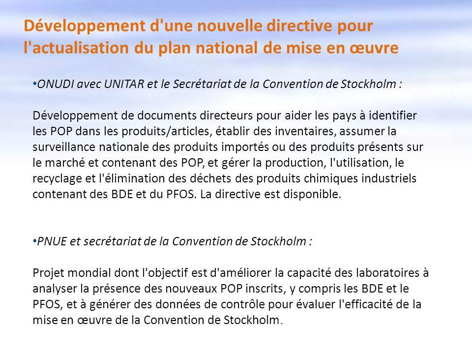 Développement d une nouvelle directive pour l actualisation du plan national de mise en œuvre