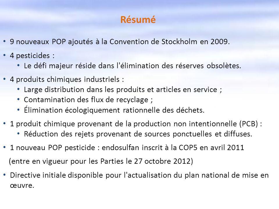 Résumé 9 nouveaux POP ajoutés à la Convention de Stockholm en 2009.