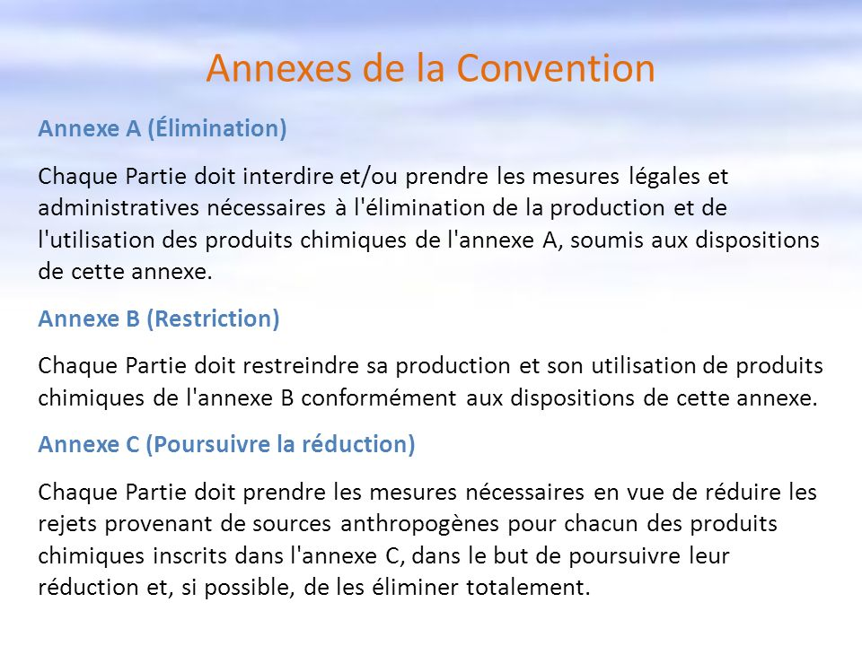 Annexes de la Convention