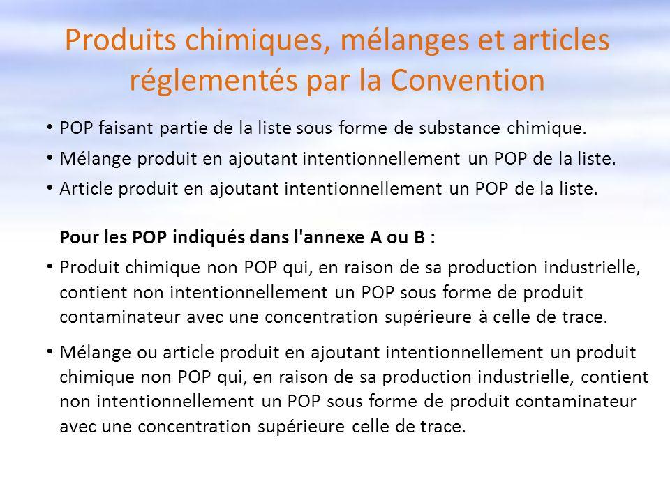 Produits chimiques, mélanges et articles réglementés par la Convention