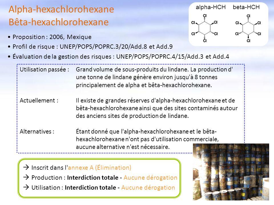 Alpha-hexachlorohexane Bêta-hexachlorohexane