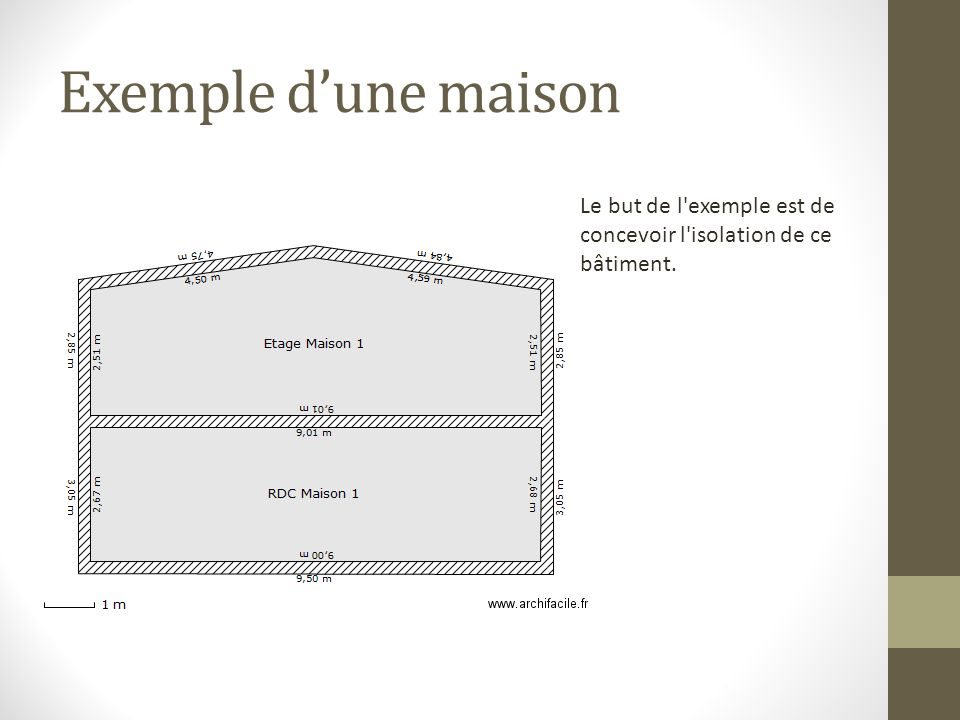 Exemple d'une maison Le but de l exemple est de concevoir l isolation de ce bâtiment.