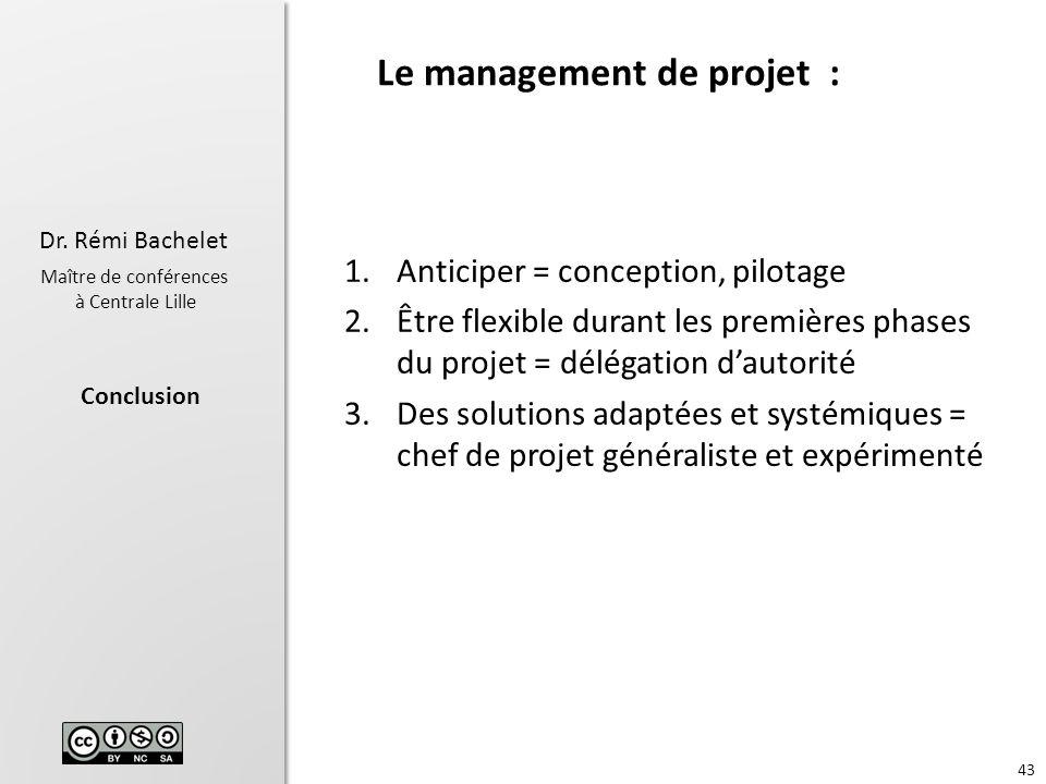 Le management de projet :
