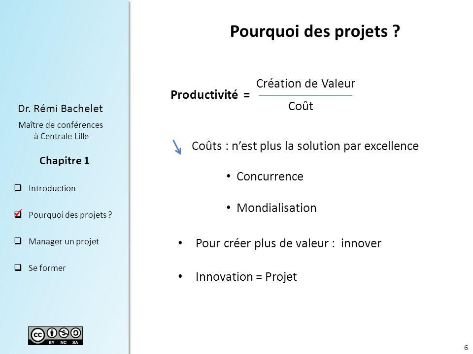Pourquoi des projets Création de Valeur Productivité = Coût