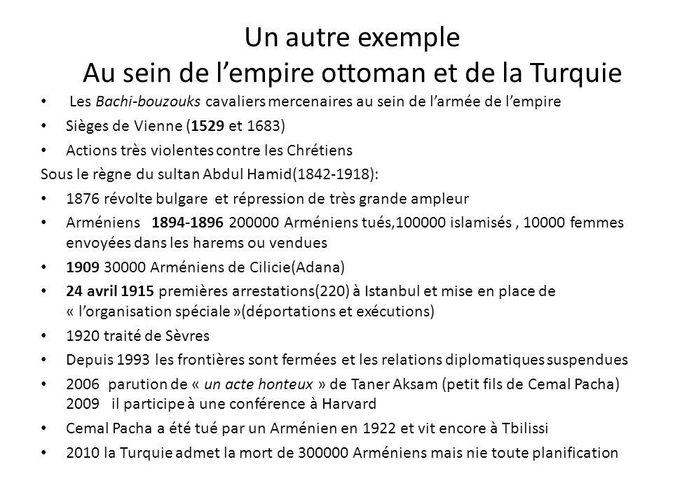 Un autre exemple Au sein de l'empire ottoman et de la Turquie