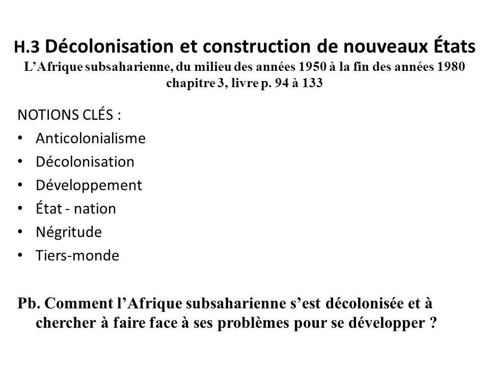 H.3 Décolonisation et construction de nouveaux États L'Afrique subsaharienne, du milieu des années 1950 à la fin des années 1980 chapitre 3, livre p. 94 à 133