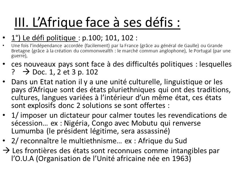 III. L'Afrique face à ses défis :