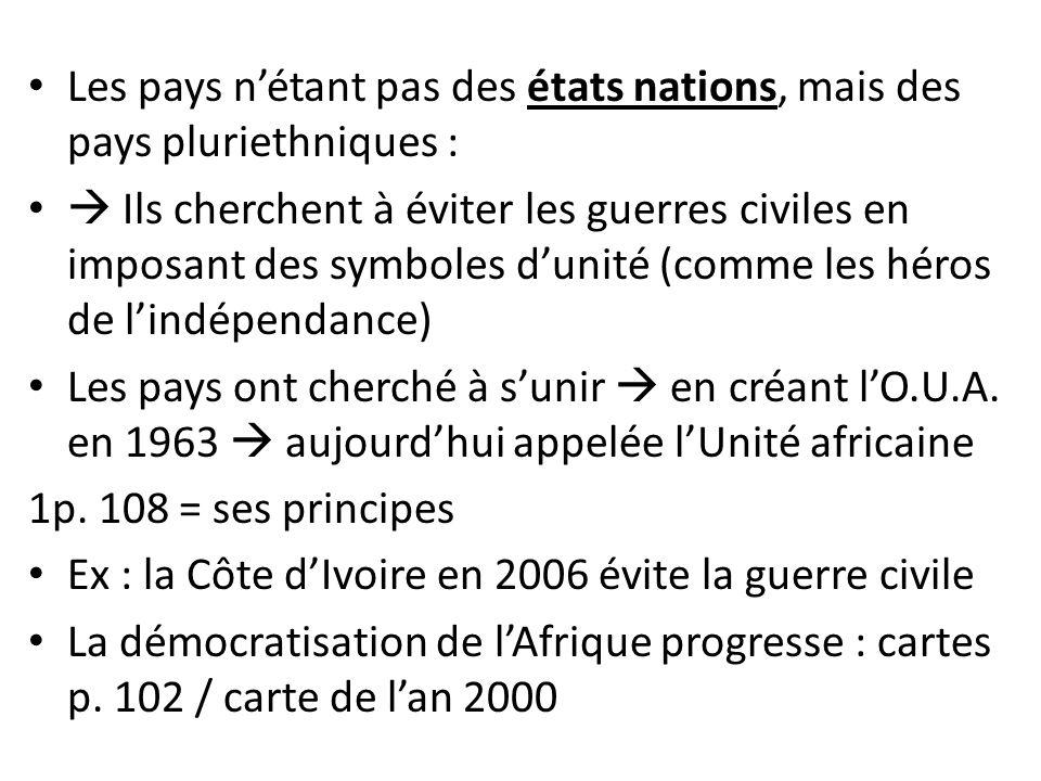 Les pays n'étant pas des états nations, mais des pays pluriethniques :