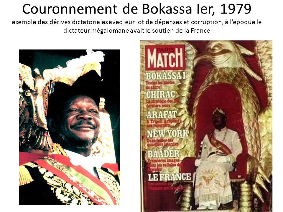 Couronnement de Bokassa Ier, 1979 exemple des dérives dictatoriales avec leur lot de dépenses et corruption, à l'époque le dictateur mégalomane avait le soutien de la France