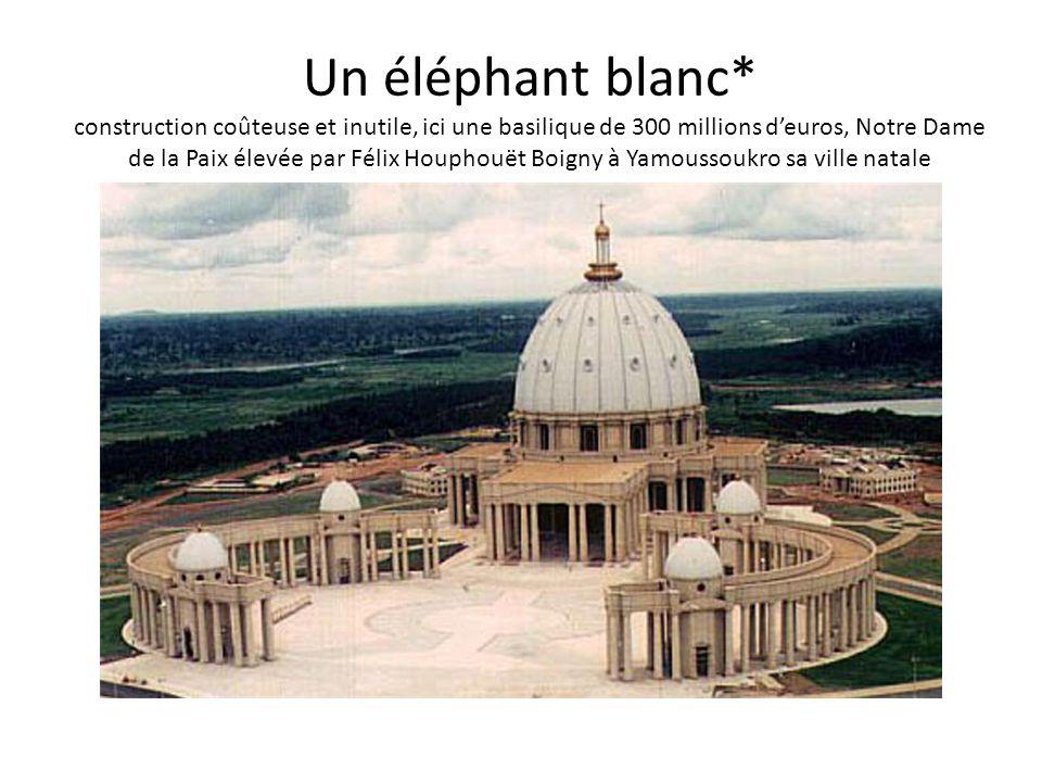 Un éléphant blanc* construction coûteuse et inutile, ici une basilique de 300 millions d'euros, Notre Dame de la Paix élevée par Félix Houphouët Boigny à Yamoussoukro sa ville natale
