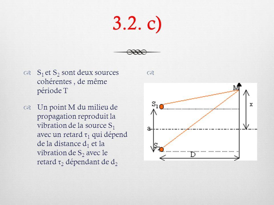 3.2. c) S1 et S2 sont deux sources cohérentes , de même période T