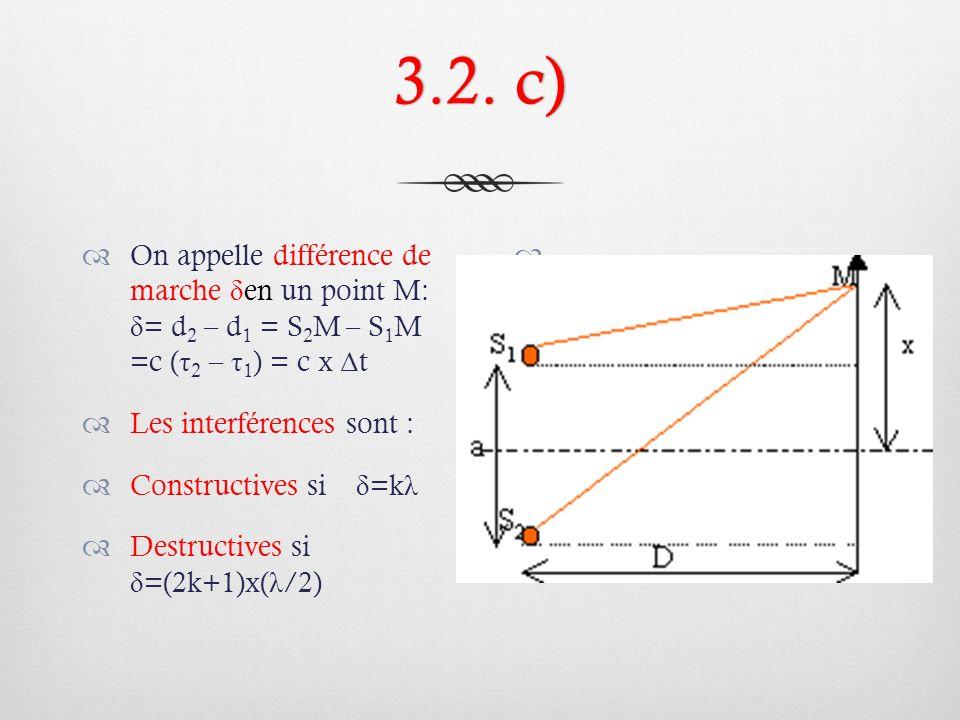 3.2. c) On appelle différence de marche δen un point M: δ= d2 – d1 = S2M – S1M =c (τ2 – τ1) = c x Δt.