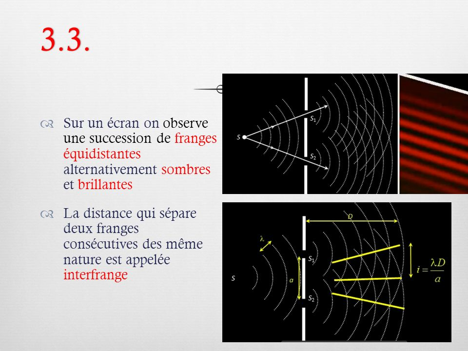 3.3. Sur un écran on observe une succession de franges équidistantes alternativement sombres et brillantes.