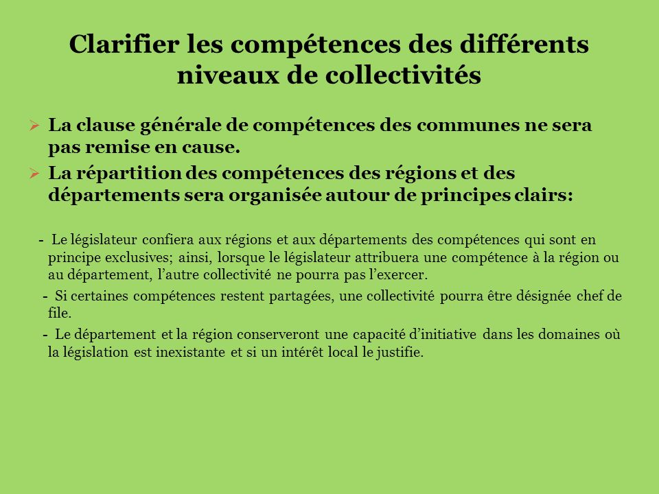 Clarifier les compétences des différents niveaux de collectivités