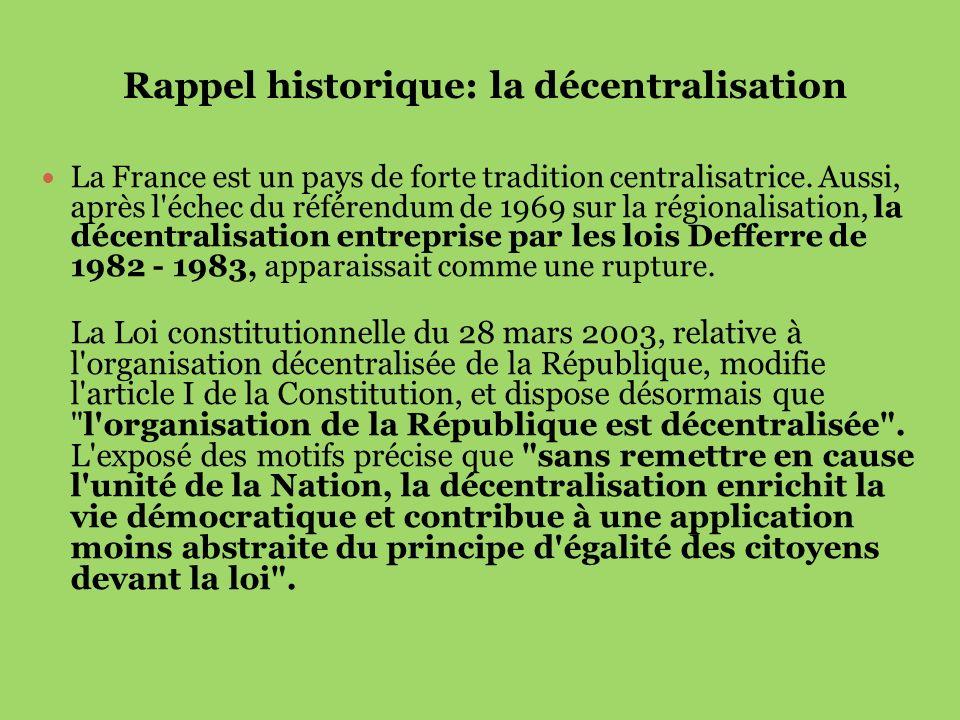 Rappel historique: la décentralisation