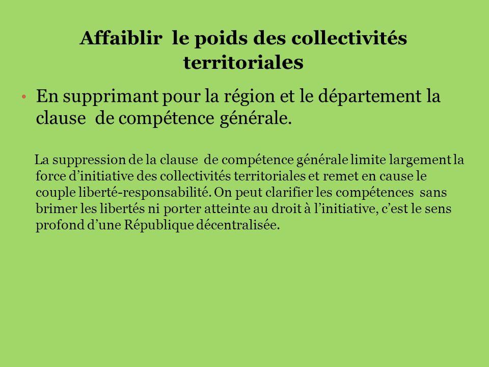 Affaiblir le poids des collectivités territoriales