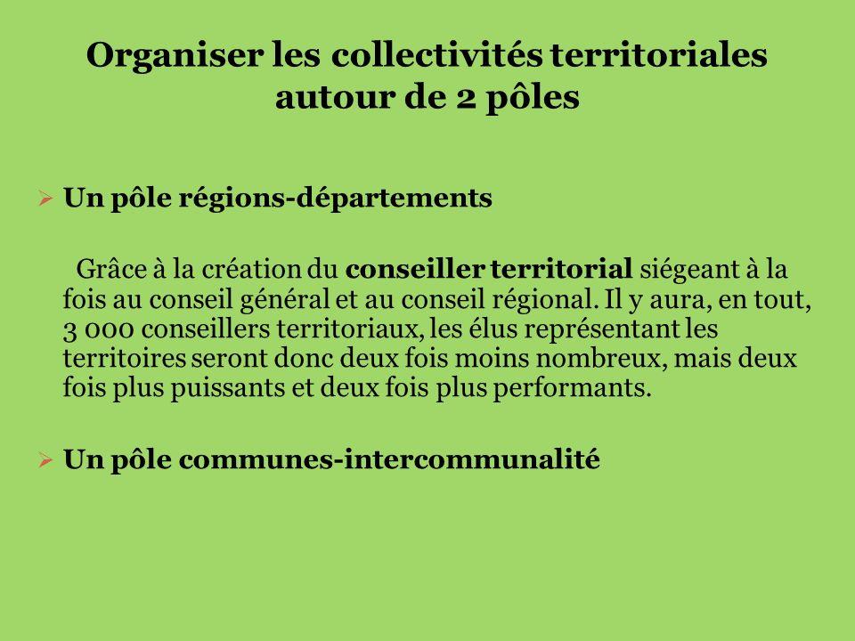 Organiser les collectivités territoriales autour de 2 pôles