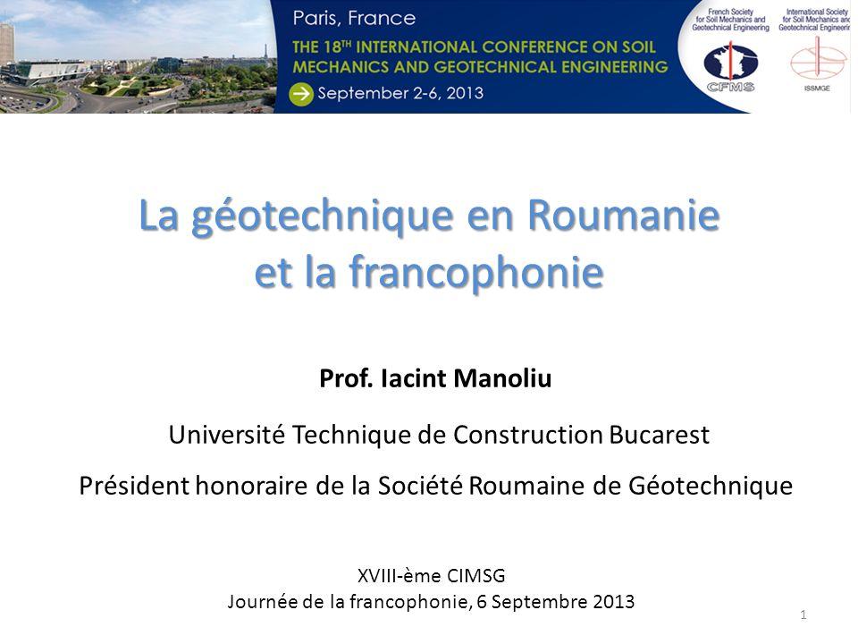 La géotechnique en Roumanie et la francophonie