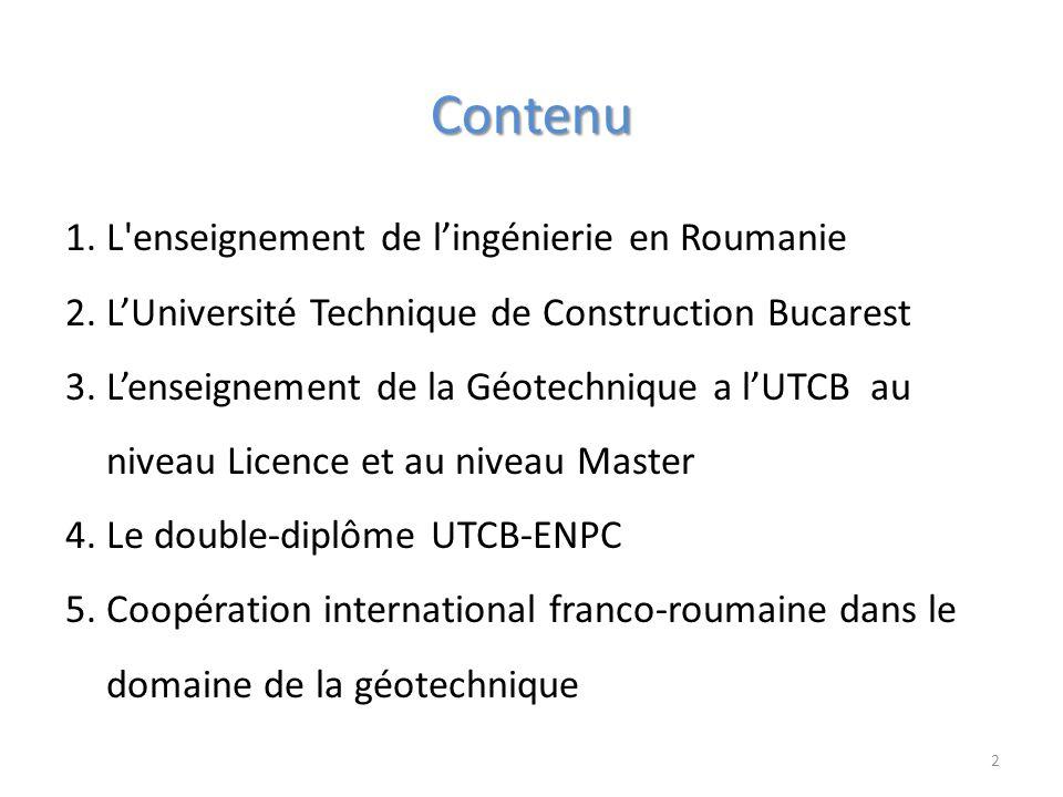 Contenu L enseignement de l'ingénierie en Roumanie