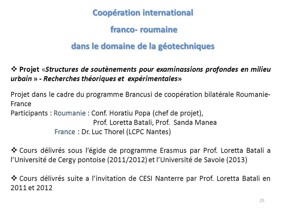 Coopération international dans le domaine de la géotechniques
