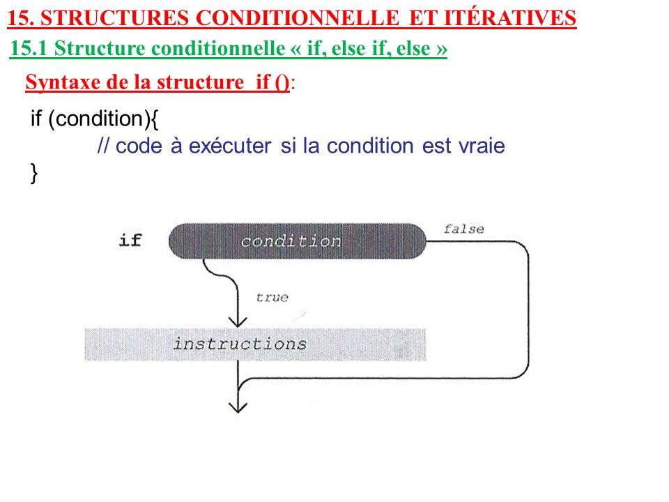 15. Structures conditionnelle et itératives