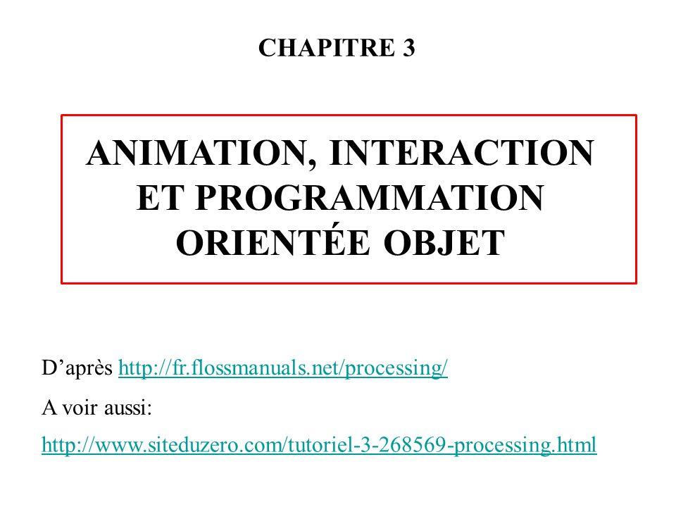 Animation, interaction et programmation orientée objet