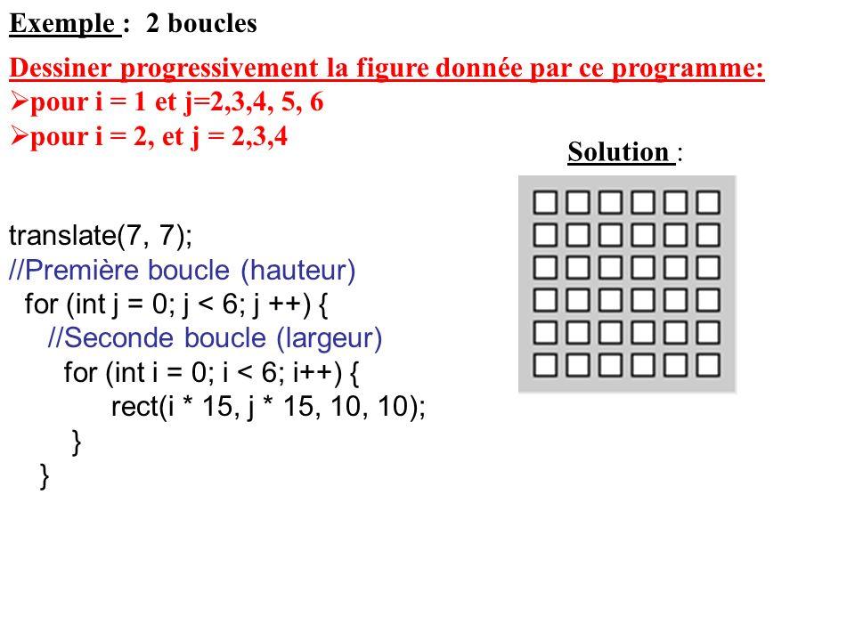 Exemple : 2 boucles Dessiner progressivement la figure donnée par ce programme: pour i = 1 et j=2,3,4, 5, 6.