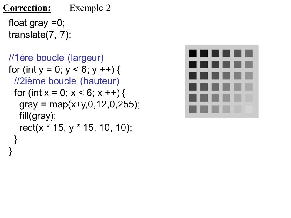 Correction: Exemple 2. float gray =0; translate(7, 7); //1ère boucle (largeur) for (int y = 0; y < 6; y ++) {