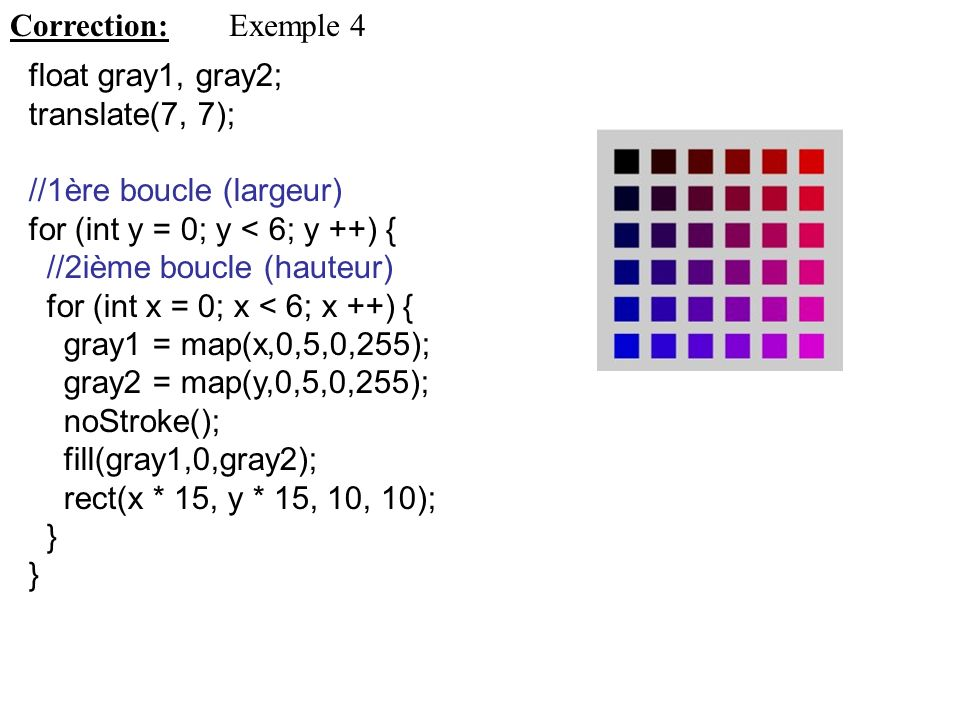 Correction: Exemple 4. float gray1, gray2; translate(7, 7); //1ère boucle (largeur) for (int y = 0; y < 6; y ++) {
