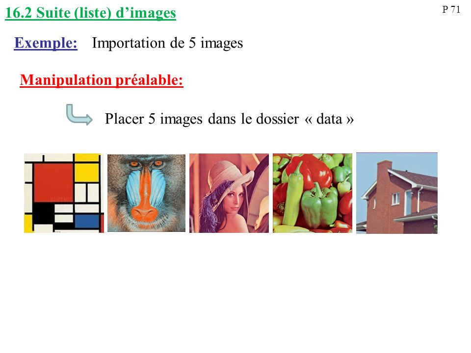 16.2 Suite (liste) d'images