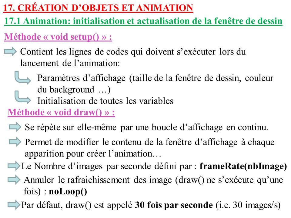 17. Création d'objets et animation