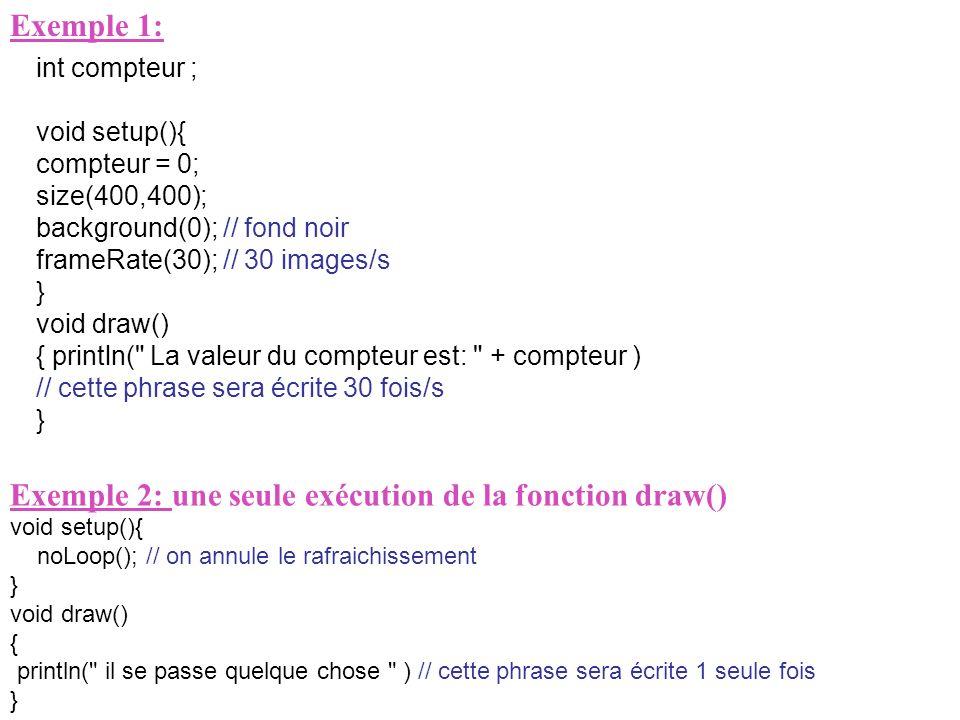 Exemple 2: une seule exécution de la fonction draw()