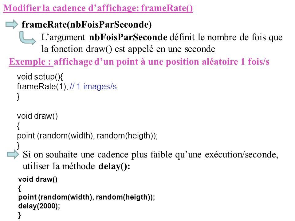 Modifier la cadence d'affichage: frameRate()