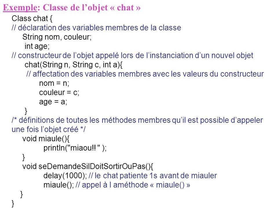 Exemple: Classe de l'objet « chat »