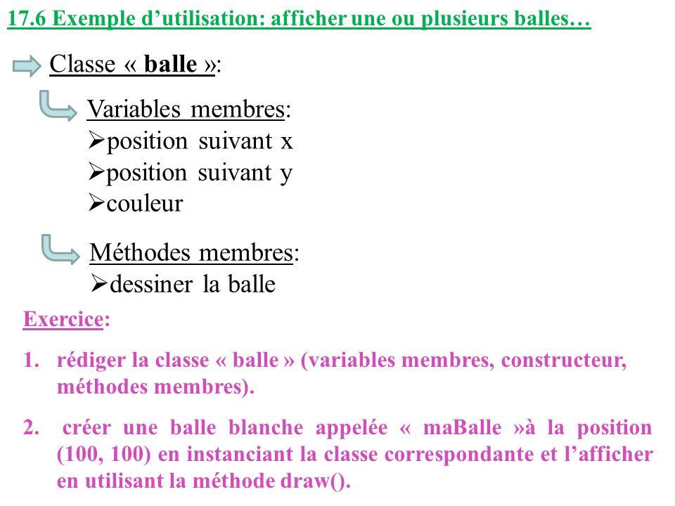Classe « balle »: Variables membres: position suivant x