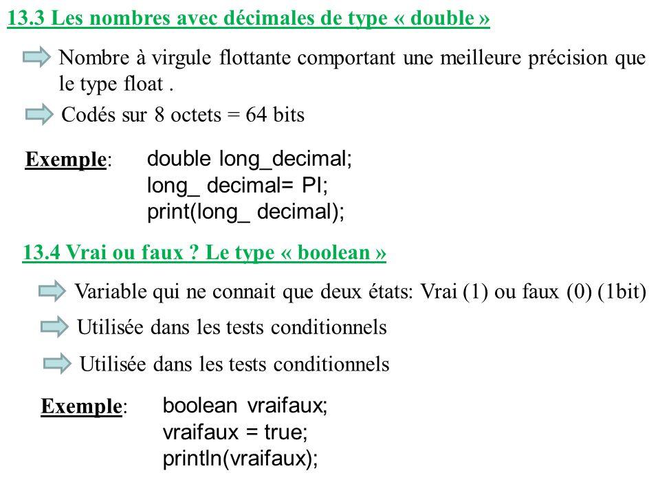 13.3 Les nombres avec décimales de type « double »