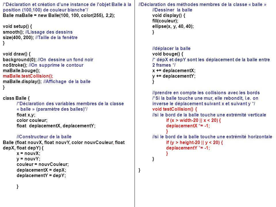 /*Déclaration et création d une instance de l objet Balle à la position (100,100) de couleur blanche*/