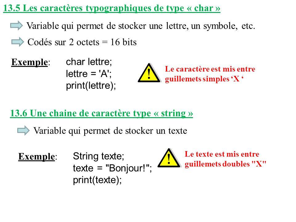 13.5 Les caractères typographiques de type « char »