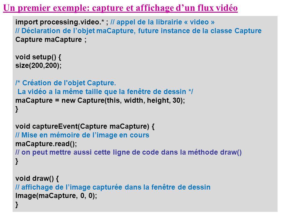 Un premier exemple: capture et affichage d'un flux vidéo