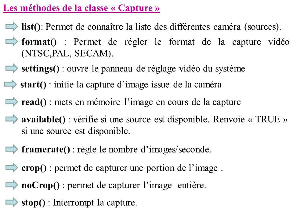 Les méthodes de la classe « Capture »