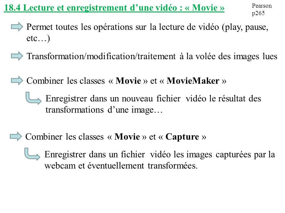 18.4 Lecture et enregistrement d'une vidéo : « Movie »